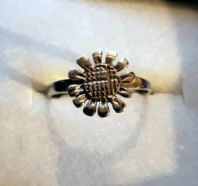 Sterling Silver Flower Ring - size I